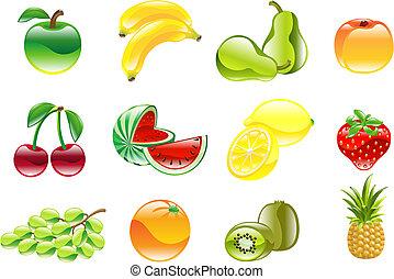 prachtig, set, glanzend, fruit, pictogram