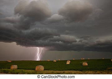 prairie, wolken, storm