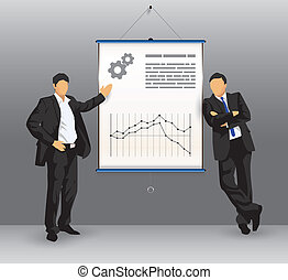 presentatie, plank, zakenlui