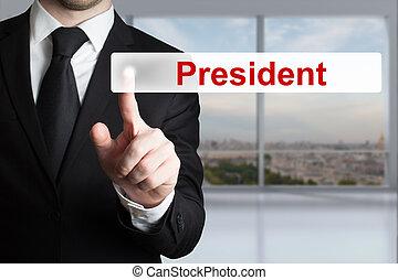 president, knoop het duwen, plat, zakenman