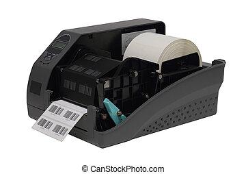 printer, op, streepjescode, vrijstaand, etiket, achtergrond, witte