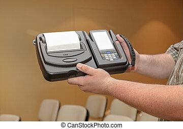 printer, streepjescode, draagbaar