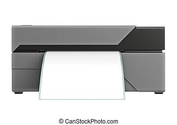 printer, voorkant, streepjescode, aanzicht