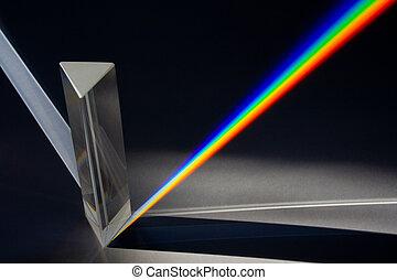 prisma, door, spectrum, zonlicht