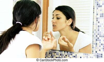 probleem, acne, meisje, huid