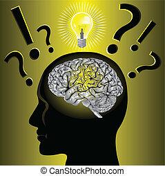 probleem, hersenen, het oplossen, idee