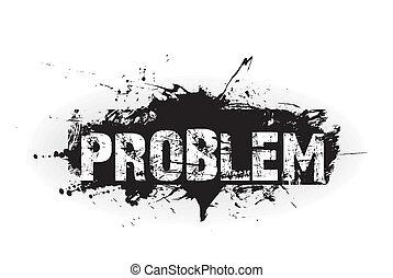 probleem, pictogram, grunge
