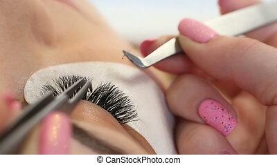 procedure., op, vrouw oog, eyelashes., uitbreiding, ooghaar, zweepslagen, lang, focus., selectief, macro, afsluiten
