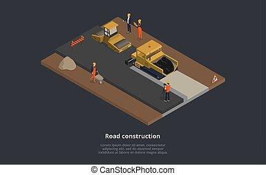 process., suit., vervelend, straat, mannelijke , meldingsbord, vector, hoger, illustratie, bouwsector, uniform, concept., spotprent, straat, werkende , sinaasappel, samenstelling, karakters, mechanisme, stijl, 3d, isometric
