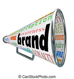 product, brandmerken trouw, reclame, megafoon, bewustzijn, bouwen