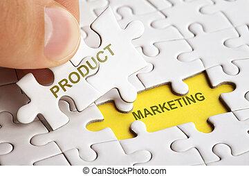 product, marketing., raadsel, hand houdend, woord, stuk