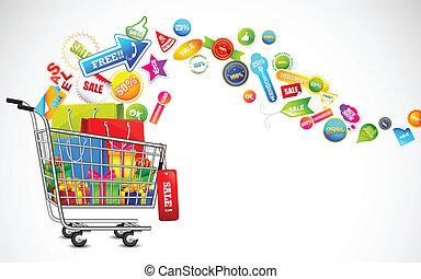 product, volle, shoppen , verkoop, kar