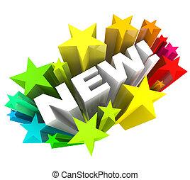 product, woord, aankondigen, merk, verbetering, sterretjes, nieuw, of
