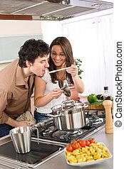 proeven, paar, -, voedingsmiddelen, cook, keuken, man