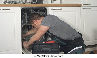 professioneel, huiselijk, afwasmachine, overalls, handyman, kitchen., herstelling