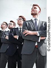 professioneel, ruimte, kopie, groep, werknemers, het kijken, bedrijf