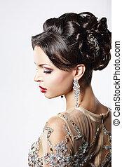 profiel, bruine , hairstyle, juwelen, feestelijk, haar, fijn, dame