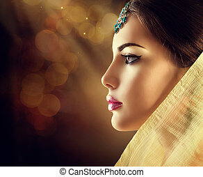 profiel, indiër, verticaal, oosters, mode, mooie vrouw, accessoires