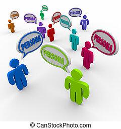 profiel, klanten, persona, mensen, klanten, toespraak, koper, bel