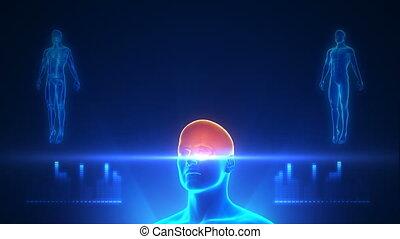 projectie, lichaam, blauwe , volle, scanderen