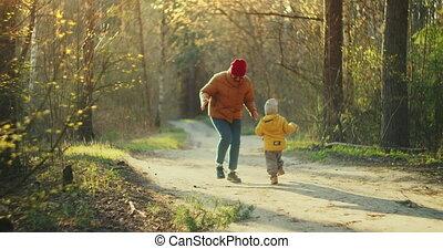 promenade., oud, wandeling, woods., straat, vrouw, het genieten van, boeiend, jongen, zoon, kinderen, gezin, jonge, wandelingen, nature., forest., gaan, vrolijke , hout, 2, moeder, jaar