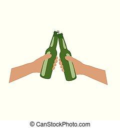 proosten, fles, illustratie, beer, handen