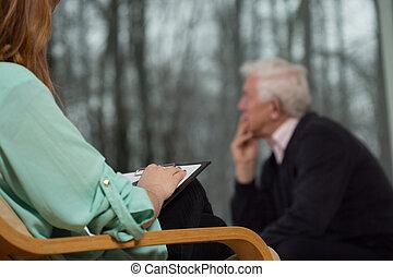 psychotherapist, klant, haar, luisteren