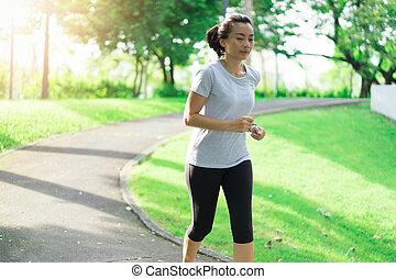 publiek, park., workout, rennende , vrouw, concept