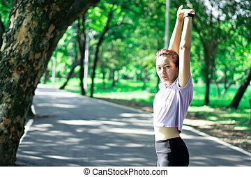 publiek, workout, voor, vrouwen, run., oefeningen, stretching, concept, park
