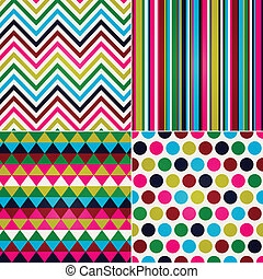 punt, strepen, zigzag, seamless, polka