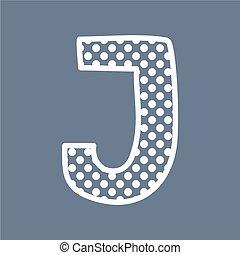 punten, alfabet, j, polka, vector, brief