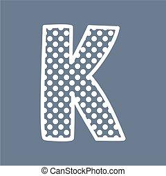 punten, alfabet, k, polka, vector, brief