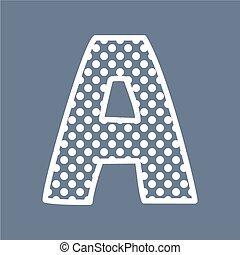 punten, alfabet, vector, polka, brief