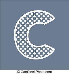 punten, c, alfabet, polka, vector, brief
