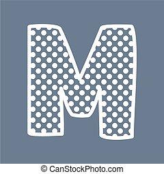punten, m, polka, vector, brief, alfabet