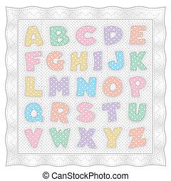 punten, stikken, pastel, alfabet, polka