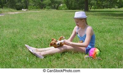 puppy, haar, dog, kind, gras, spelend, vrolijke