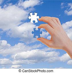 puzzelstuk, leest, menselijke hand