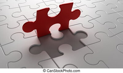 puzzelstuk, plek, eind-, dalingen