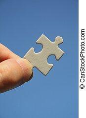 puzzelstuk, witte , menselijke hand