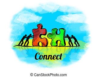 puzzle., verbinden, zakelijk, teamwork, jigsaw, illustration., concept