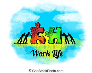 puzzle., zakelijk, teamwork, jigsaw, leven, werken, illustration., concept