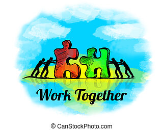 puzzle., zakelijk, teamwork, jigsaw, samen, werken, illustration., concept