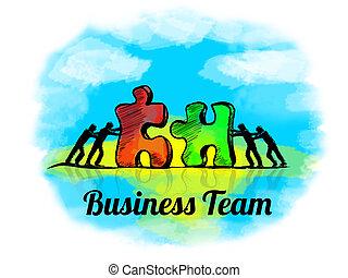 puzzle., zakelijk, teamwork, jigsaw, team, illustration., concept