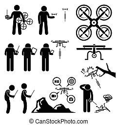 quadcopter, neuriën, het controleren, man