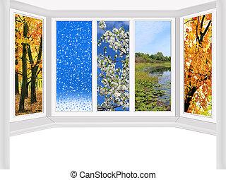 quatres saisons, venster, het overzien