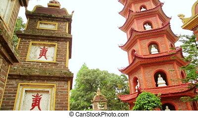 quoc, tran, pagoda, hanoi, vietnam, panning, tempel