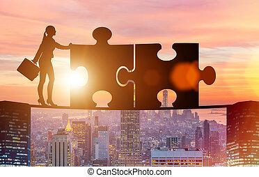 raadsel, concept, teamwork, jigsaw, zakelijk