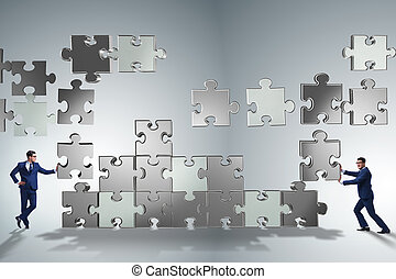 raadsel, concept, teamwork, zakelijk, stukken