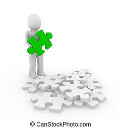 raadsel, groene, menselijk, 3d